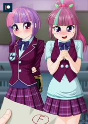 Size: 707x1000   Tagged: safe, artist:uotapo, edit, editor:gatogordo1, character:sour sweet, character:sunny flare, oc, oc:anon, g4, my little pony:equestria girls, adoraflare, arm behind back, begging, blushing, clothing, colored pupils, crystal prep academy uniform, cute, detention, f, fallout, female, freckles, human coloration, looking at you, offscreen character, open mouth, pipboy, plaid skirt, pleated skirt, ponytail, pov, school uniform, skirt, smiling, sourbetes, sunny flare's wrist devices, whoops