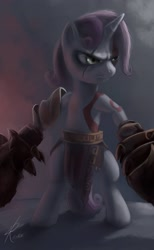 Size: 1345x2187 | Tagged: safe, artist:raikoh, character:sweetie belle, species:pony, species:unicorn, badass, bipedal, crossover, female, god of war, kratos, paint tool sai, solo