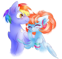 Size: 4016x3778   Tagged: safe, artist:pinkablue, character:bow hothoof, character:windy whistles, species:pegasus, species:pony, ship:windyhoof, blushing, cute, ear fluff, ear piercing, earring, eyes closed, female, jewelry, laughing, male, mare, piercing, rainbow dash's parents, raised hoof, shipping, simple background, stallion, straight, white background, younger