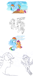 Size: 1600x3624 | Tagged: safe, artist:yaaaco, character:rainbow dash, character:scootaloo, species:pegasus, species:pony, g4, bandage, bandaid, comic, crash, crying, dirt, eyes closed, female, filly, flying, gritted teeth, injured, mare, raised hoof, raised leg, scootacrash, scootaloo can fly, scootalove, sitting, stopwatch, struggling, tears of joy, training, whistle