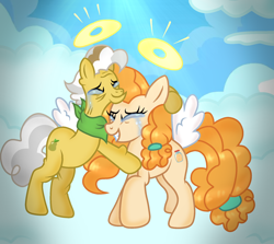 Size: 1964x1755 | Tagged: safe, artist:doraeartdreams-aspy, character:grand pear, character:pear butter, species:earth pony, species:pony, angel, bittersweet, crying, father and daughter, female, heaven, male, reunion