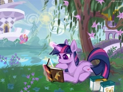 Size: 4000x3000 | Tagged: safe, artist:rrd-artist, character:twilight sparkle, character:twilight sparkle (unicorn), species:pony, species:unicorn, episode:friendship is magic, g4, my little pony: friendship is magic, bag, bird, book, book of harmony, bridge, canterlot, female, flower, glowing horn, happy birthday mlp:fim, magic, mare, mlp fim's tenth anniversary, reading, river, saddle bag, scene interpretation, scenery, solo, sun, telekinesis, tree, unicorn twilight