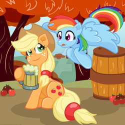 Size: 1024x1024   Tagged: safe, artist:yoshimarsart, character:applejack, character:rainbow dash, species:earth pony, species:pegasus, species:pony, :p, apple, barrel, blep, cider dash, cider mug, clothing, cowboy hat, deviantart watermark, duo, female, flying, food, hat, hoof hold, mare, mug, obtrusive watermark, silly, that pony sure does love cider, tongue out, watermark