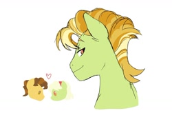 Size: 1024x673 | Tagged: safe, artist:pikokko, character:grand pear, character:granny smith, oc, oc:luster rush, parent:granny smith, species:earth pony, species:pony, heart, offspring, parent:grand pear, parents:pearsmith, pearsmith, simple background, white background, young grand pear, young granny smith, younger