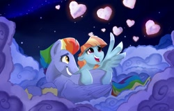 Size: 1280x818   Tagged: safe, artist:rutkotka, character:bow hothoof, character:windy whistles, species:pegasus, species:pony, ship:windyhoof, couple, female, holiday, husband and wife, male, shipping, straight, valentine's day