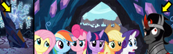 Size: 2321x720 | Tagged: safe, artist:kayman13, character:applejack, character:fluttershy, character:king sombra, character:pinkie pie, character:rainbow dash, character:rarity, character:tree of harmony, character:twilight sparkle, character:twilight sparkle (alicorn), species:alicorn, species:pegasus, species:pony, species:umbrum, species:unicorn, episode:the beginning of the end, g4, my little pony: friendship is magic, alicon, arrow, arrows, confused, crystal, dark crystal, mane six, noughtpointforlive, tree of harmony, wat