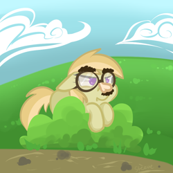 Size: 800x800 | Tagged: safe, artist:steeve, species:earth pony, species:pony, bush, cloud, cropped, female, filly, floppy ears, glasses, groucho mask, noi, solo