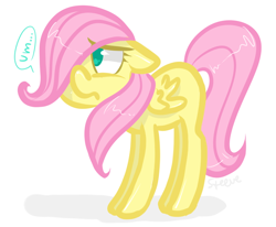 Size: 674x555 | Tagged: safe, artist:steeve, character:fluttershy, species:pegasus, species:pony, cropped, dialogue, female, filly, floppy ears, foal, frown, shy, simple background, solo, speech bubble, um
