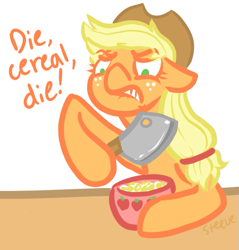 Size: 565x592 | Tagged: safe, artist:steeve, character:applejack, species:earth pony, species:pony, angry, cereal, cleaver, cropped, female, floppy ears, knife, mare, pun, serial killer, solo, visual pun