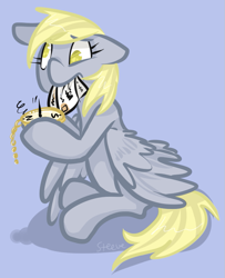 Size: 609x749 | Tagged: safe, artist:steeve, character:derpy hooves, species:pegasus, species:pony, compass, confused, cropped, female, floppy ears, mail, mare, mouth hold, no pupils, palindrome get, simple background, sitting, solo, wings down