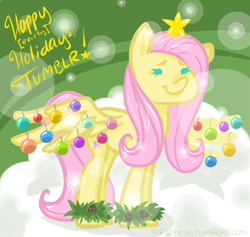 Size: 761x721 | Tagged: safe, artist:steeve, character:fluttershy, species:pegasus, species:pony, abstract background, christmas, cropped, cute, female, fluttertree, mare, smiling, solo, spread wings, wings