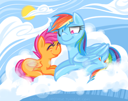 Size: 1010x800 | Tagged: safe, artist:steeve, character:rainbow dash, character:scootaloo, species:pegasus, species:pony, blank flank, cloud, cloudy, cropped, cutie mark, eyes closed, female, filly, foal, happy, hooves, lying on a cloud, mare, on a cloud, one eye closed, prone, scootalove, smiling, sun, wings