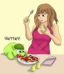 Size: 661x769 | Tagged: safe, artist:carpdime, oc, oc only, oc:avocado, species:human, g4, feeding, fluffy pony, food, hugbox, pasta, sketties, spaghetti