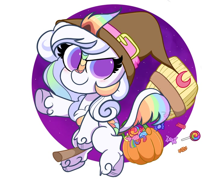 Size: 2048x1707 | Tagged: safe, artist:kittyrosie, manebooru original, oc, oc:cloudy canvas, species:kirin, broom, candy, clothing, commission, flying on broom, hat, night sky background, pumpkin, pumpkin bucket, solo, unshorn fetlocks, witch costume, witch hat