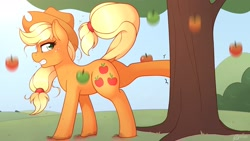 Size: 3200x1800 | Tagged: safe, artist:ratofdrawn, character:applejack, species:earth pony, species:pony, apple, apple tree, applebucking, dock, female, food, happy birthday mlp:fim, mare, mlp fim's tenth anniversary, nose wrinkle, profile, solo, sweat, tree