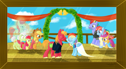Size: 1793x980   Tagged: safe, artist:karmadash, character:apple bloom, character:applejack, character:big mcintosh, character:bow hothoof, character:bright mac, character:granny smith, character:pear butter, character:rainbow dash, character:scootaloo, character:windy whistles, species:pegasus, species:pony, ship:brightbutter, ship:rainbowmac, ship:windyhoof, alternate hairstyle, bell, clothing, couple, crying, dress, farm, female, ghost pony, male, marriage, nuzzling, photo, shipping, spirit pony, straight, wedding, wedding dress, wedding veil
