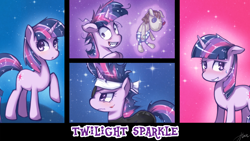 Size: 1440x810   Tagged: safe, artist:hua, character:smarty pants, character:twilight sparkle, future twilight, magic, panel, wallpaper