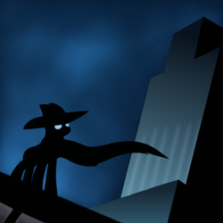 Size: 2000x2000 | Tagged: safe, artist:redquoz, character:mare do well, species:pony, newbie artist training grounds, atg 2019, batman, batman the animated series, cape, clothing, cloud, cloudy, eye glow, heroic posing, manehattan, parody, silhouette, skyscraper, solo, unknown pony