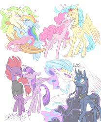 Size: 1000x1200 | Tagged: safe, artist:creeate97, character:captain celaeno, character:fizzlepop berrytwist, character:pinkie pie, character:princess luna, character:princess skystar, character:queen novo, character:rainbow dash, character:tempest shadow, character:twilight sparkle, character:twilight sparkle (alicorn), species:alicorn, species:anthro, species:classical hippogriff, species:earth pony, species:hippogriff, species:pegasus, species:pony, species:unicorn, ship:celaenodash, ship:lunovo, ship:skypie, ship:tempestlight, my little pony: the movie (2017), anthro with ponies, blushing, boop, broken horn, dialogue, ear piercing, earring, eye scar, female, flower, flower in hair, heart, jewelry, kissing, lesbian, mare, noseboop, piercing, raised hoof, scar, shipping, simple background, speech, white background