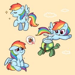 Size: 800x800   Tagged: safe, artist:dcon, character:rainbow dash, character:tank, species:pegasus, species:pony, chibi, cider, cider dash, crying, cute, dashabetes, eyes closed, female, flying, mare, mini pony, pictogram, raised hoof, simple background, tankard, that pony sure does love cider