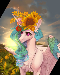 Size: 1024x1280 | Tagged: safe, artist:rossignolet, character:princess celestia, species:alicorn, species:pony, chest fluff, female, floral head wreath, flower, flower in hair, mare, solo, sunflower
