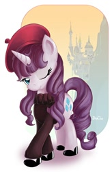 Size: 670x1024 | Tagged: safe, artist:don-ko, character:rarity, species:pony, species:unicorn, episode:sweet and elite, g4, my little pony: friendship is magic, alternate hairstyle, beatnik rarity, beret, canterlot, clothing, fashion, female, hat, mare, photoshop, shoes, simple background, solo, sweater, white background, wink