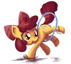 Size: 700x630 | Tagged: safe, artist:don-ko, character:apple bloom, species:earth pony, species:pony, episode:the cutie pox, g4, my little pony: friendship is magic, adorabloom, alternate cutie mark, apple bloom's bow, bow, cute, cutie mark, cutie pox, female, filly, hair bow, hoop, loop-de-hoop, photoshop, puddle, simple background, solo, white background