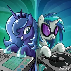 Size: 600x600 | Tagged: safe, artist:don-ko, character:dj pon-3, character:princess luna, character:vinyl scratch, species:alicorn, species:pony, species:unicorn, g4, colored pupils, cute, duo, duo female, female, hoof shoes, lunabetes, mare, photoshop, s1 luna, smiling, turntable, vinylbetes