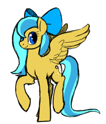 Size: 1072x1254 | Tagged: safe, artist:darkodraco, oc, oc only, oc:ocean shore, species:pony, bow, old design, pegasus oc