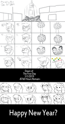 Size: 2500x4743 | Tagged: safe, artist:darnelg, character:octavia melody, character:pinkie pie, oc, oc:pawprint, countdown, crying, epona, halucinating, manehattan, musical instrument, new year's eve, ocarina, octavia is not amused, scared, shitposting, the legend of zelda, unamused