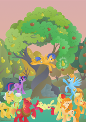 Size: 2059x2912 | Tagged: safe, artist:lavenderrain24, character:apple bloom, character:applejack, character:big mcintosh, character:bright mac, character:flash sentry, character:grand pear, character:granny smith, character:pear butter, character:twilight sparkle, character:twilight sparkle (alicorn), oc, oc:harmony star, species:alicorn, species:earth pony, species:pegasus, species:pony, ship:flashlight, alicorn oc, alternate scenario, apple, apple bloom's cutie mark, apple family, apple siblings, apple sisters, apple tree, brother and sister, exploitable meme, father and daughter, father and son, father and son-in-law, female, filly, foal, grandmother and grandchild, grandmother and granddaughter, grandmother and grandson, intertwined trees, male, mare, meme, mother and child, mother and daughter, mother and daughter-in-law, mother and son, pear tree, rock, shipping, siblings, sisters, stallion, straight, the whole apple family, tree, wall of tags