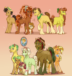 Size: 2000x2092 | Tagged: safe, artist:bunnari, character:apple bloom, character:applejack, character:big mcintosh, character:bright mac, character:grand pear, character:granny smith, character:pear butter, oc, oc:alcahazar water, oc:barrel cactus, oc:cinnamon pear, oc:sweet spice, species:pony, apple brown betty, apple cobbler, apple family, apple family member, baby, baby pony, mosely orange, oak nut, pear family, uncle orange, young granny smith, younger