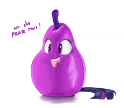 Size: 1200x1044   Tagged: safe, artist:sirmasterdufel, character:twilight sparkle, food, inanimate tf, pear, solo, transformation, wat