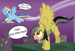 Size: 1567x1080 | Tagged: safe, artist:ask-theponyqueen, artist:frostbases, artist:grapefruitface1, artist:tunchawk, base used, character:daring do, character:rainbow dash, species:pony, ship:daringdash, blackmail, bribery, clothing, dialogue, female, flying, hat, lesbian, manehattan, shipping