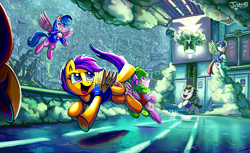 Size: 4769x2920 | Tagged: safe, artist:jowybean, character:blossomforth, character:firefly, character:rumble, character:scootaloo, oc, species:pegasus, species:pony, ball, basket, basketball, blizzard, cloud, colt, female, filly, flying, freckles, gym, male, mare, open mouth, pegasus oc, signature, smiling, snow, snowfall, sports, spread wings, underhoof, wings