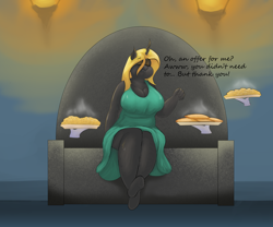Size: 3000x2500 | Tagged: safe, artist:lupin quill, oc, oc:mirage, species:anthro, species:changeling, species:unguligrade anthro, series:fit for a queen (weight gain), g4, belly, big breasts, breasts, busty oc, changeling oc, changeling queen, changeling queen oc, chubby, clothing, disembodied hand, dress, empanada, eyes closed, eyeshadow, female, food, frog (hoof), hand, magic, magic hands, makeup, open mouth, pasta, plump, sitting, this will end in weight gain, throne, underhoof, weight gain sequence, yellow changeling