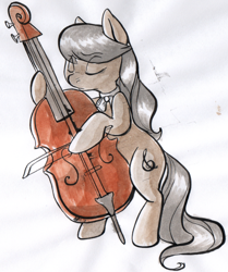 Size: 586x700 | Tagged: source needed, safe, artist:php27, character:octavia melody, species:earth pony, species:pony, g4, bow (instrument), bowtie, cello, female, mare, musical instrument, solo, traditional art, watercolor painting