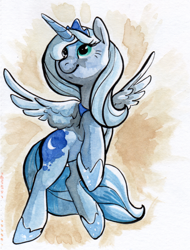 Size: 578x760 | Tagged: source needed, safe, artist:php27, character:princess luna, species:alicorn, species:pony, g4, female, hoof shoes, mare, rearing, s1 luna, solo, traditional art, watercolor painting