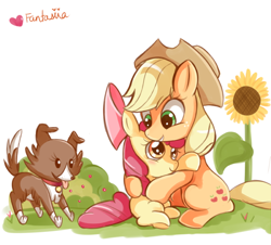 Size: 600x542 | Tagged: safe, artist:ipun, character:apple bloom, character:applejack, character:winona, species:earth pony, species:pony, apple sisters, applejack's hat, clothing, cowboy hat, dog, female, filly, flower, foal, hat, hug, mare, pet, siblings, simple background, sisters, trio, white background