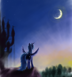 Size: 800x850 | Tagged: safe, artist:grayma1k, character:princess luna, species:alicorn, species:pony, castle, crescent moon, female, get, index get, mare, moon, needs more blur, rear view, repdigit milestone, s1 luna, solo, spread wings, sunset, wings