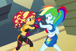 Size: 900x607 | Tagged: safe, artist:sapphiregamgee, character:rainbow dash, character:sunset shimmer, g4, my little pony:equestria girls, boxing, boxing glove, boxing gloves, boxing shorts, canterlot high, clothing, duo, duo female, female, fight, gym, gymnasium, sleeveless, smiling, sports, sports bra, sweat