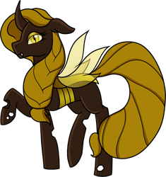 Size: 3285x3502 | Tagged: safe, artist:sevenserenity, oc, oc only, oc:queen ceropali, species:changeling, 2020 community collab, derpibooru community collaboration, changeling queen, changeling queen oc, female, goldling, simple background, solo, transparent background, yellow changeling
