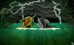 Size: 3500x2140 | Tagged: safe, artist:sevenserenity, oc, oc only, oc:bullet storm, oc:dragon storm, species:pony, species:unicorn, bioluminescent, cave, complex background, duo, eye contact, holding hooves, looking at each other, mushroom, plants, shipping, vine, water, wet mane