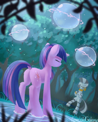 Size: 2000x2500 | Tagged: safe, artist:emeraldgalaxy, character:twilight sparkle, character:twilight sparkle (unicorn), character:zecora, species:pony, species:unicorn, species:zebra, episode:magic duel, g4, my little pony: friendship is magic, bipedal, dock, duo, ear piercing, earring, everfree forest, eyes closed, female, hooves together, hydrokinesis, jewelry, leg fluff, magic, magic aura, mare, meditating, mentoring, mohawk, neck rings, piercing, plot, scene interpretation, shaman, standing, standing on one leg, standing on water, stress relief, telekinesis, training, tree, water