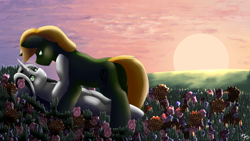 Size: 5760x3240 | Tagged: safe, artist:sevenserenity, oc, oc only, oc:bullet storm, oc:dragon storm, species:pony, species:unicorn, complex background, cuddling, duo, eye contact, flower, heart eyes, looking at each other, scene, scenery, shipping, sunset, wingding eyes