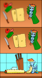 Size: 764x1400   Tagged: safe, artist:dacaoo, character:rainbow dash, oc, oc:anon, species:human, species:pegasus, species:pony, g4, bait and switch, blurred background, comic, everything went better than expected, food, knife, lavash, shawarma, smol, smoldash, tiny, tiny ponies, tomato, vegetables