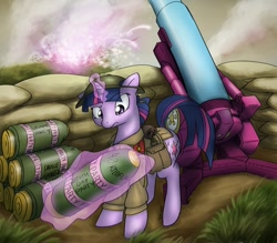 Size: 1368x1200 | Tagged: safe, artist:conicer, character:twilight sparkle, species:pony, g4, artillery, cannon, clothing, female, frown, glowing horn, gun, hat, horn, magic, mare, partillery, party cannon, solo, telekinesis, uniform, war, world war i