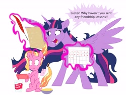 Size: 6000x4500   Tagged: safe, artist:chub-wub, character:luster dawn, character:twilight sparkle, species:alicorn, species:pony, species:unicorn, beverage, calendar, cup, dialogue, earbuds, female, magic, mare, princess twilight 2.0, quill, smartphone, telekinesis, yelling