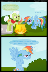 Size: 2170x3240   Tagged: safe, artist:diegotan, character:granny smith, character:rainbow dash, species:earth pony, species:pegasus, species:pony, comic:granny smithix, angry, annoyed, asterix, bipedal, brewing, cauldron, comic, crossover, dialogue, duo, duo female, elderly, english, female, fire, frown, gimp, high res, magic potion, mare, obelix, panoramix, parody, potion, rainbow, rainbow dumb