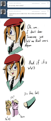 Size: 643x1526 | Tagged: safe, artist:askponybrandenburg, species:earth pony, species:pegasus, species:pony, ask, beret, brandenburg, bust, clothing, comic, confused, cyrillic, dialogue, female, hat, hetalia, mare, necktie, pointing, ponified, russian, scarf, united states